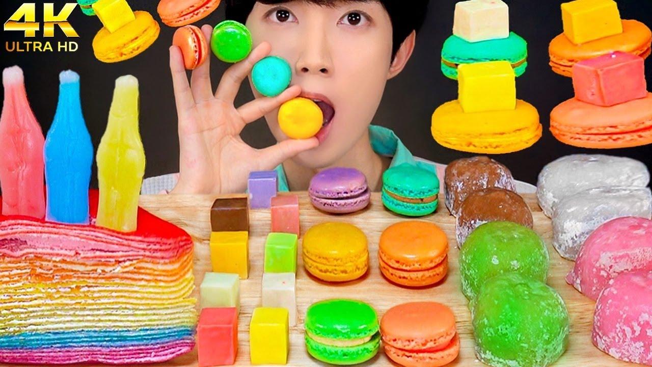 ASMR RAINBOW CHEESE NIK-L-NIPS CAKE, SLIME RICE BALLS, MAKARON MUKBANG 무지개 디저트 먹방 EATING SOUNDS