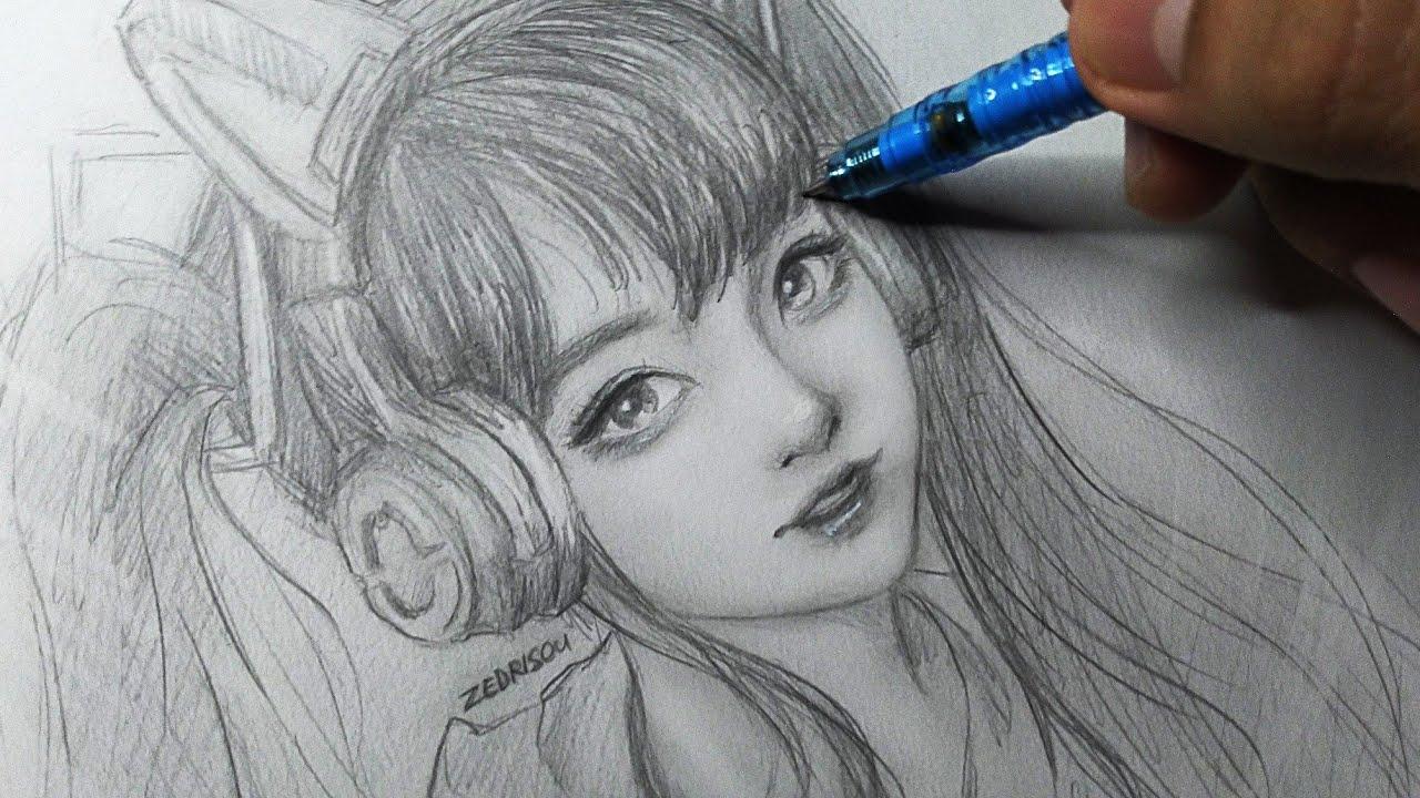 Quick tutorial : How to draw semi realistic anime girl w/ headphones