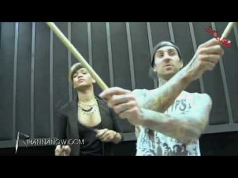 Rihanna Drums Lesson With Travis Barker For  Last Girl On Earth Tour