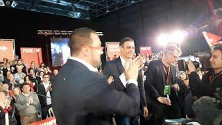 Pedro Sánchez a su llegada a un mitin en el recinto ferial de Gijón