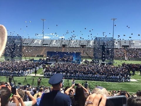 United States Air Force Academy 2017 Graduation: Dismissal, Hat Toss, and Thunderbird Performance