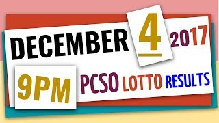 Lotto Results December 4, 2017 at 9:00 pm (Evening draw) ft. 6-55, 6-45, 4D, Swertres & Ez2