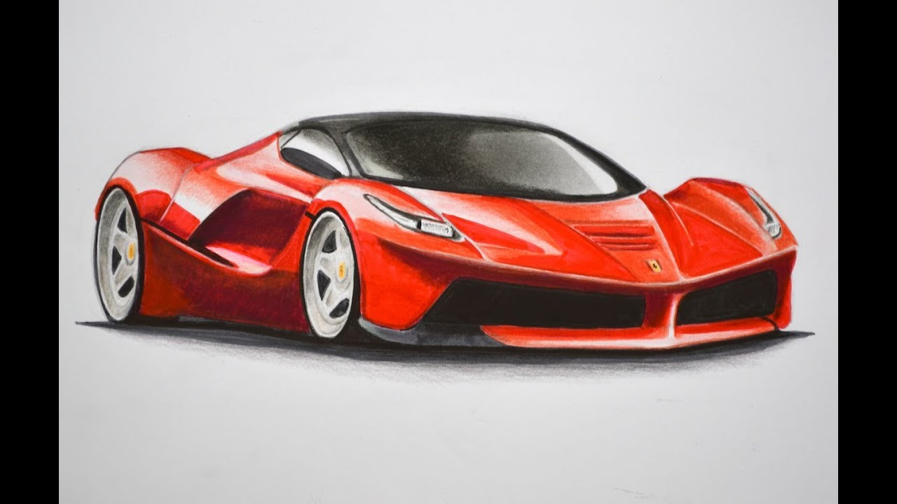 How to Draw a Ferrari With Colors  How to Draw a Car