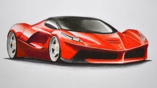 How to Draw a Ferrari With Colors - How to Draw a Car