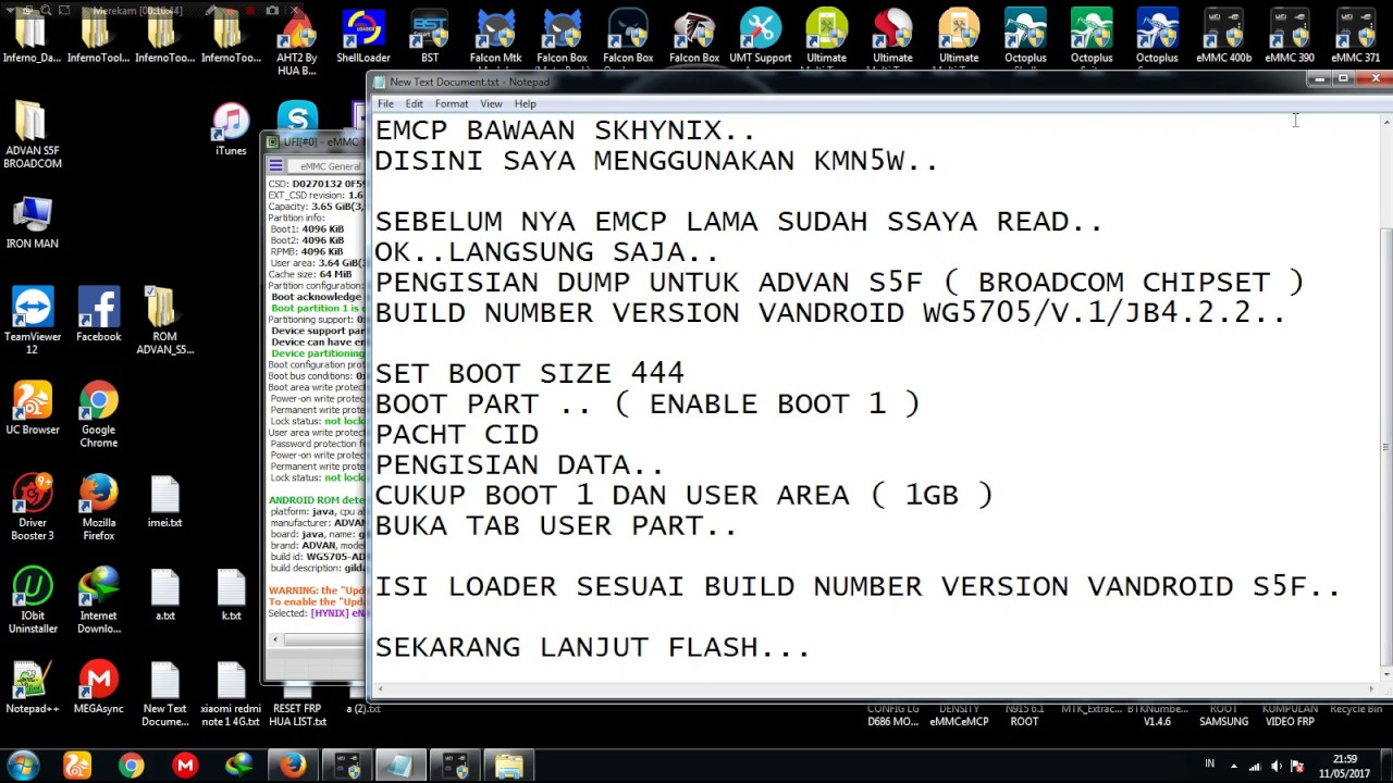 HOW TO CHANGE EMCP SKHYNIX ADVAN S5 F BROADCOM CHIPSET USE SAMSUNG KMN5W WITH UFI BOX