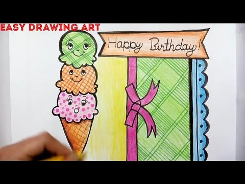 How To Make Birthday Greeting Card Drawing