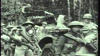 Allied troops advance and construct an air base in Burma during World War II. HD Stock Footage