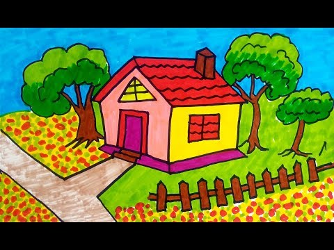 how-to-drawing-scenery-of-house-|-drawing-for-kids,-children's-&-beginners-step-by-step