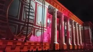 Вильнюс , лазерное шоу на стене Кафедрального  Собора .Рождество 2017 год