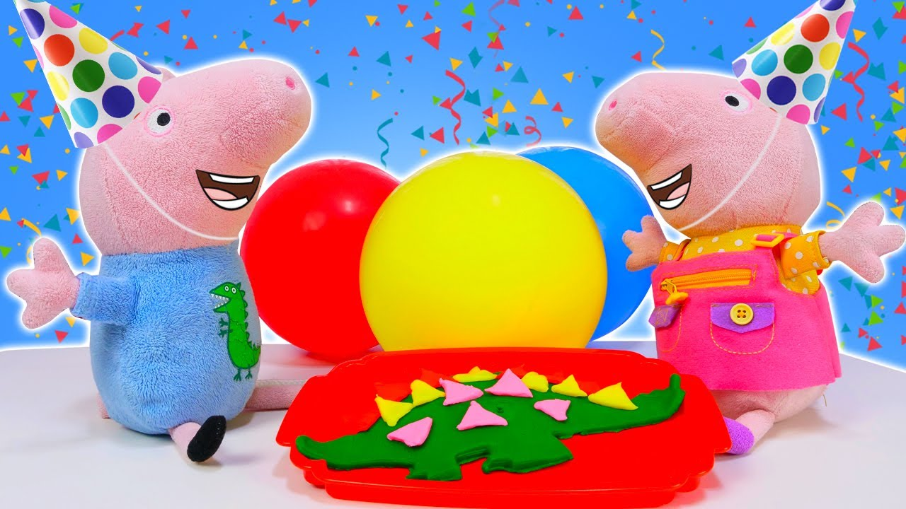 Le gâteau d'anniversaire pour George Pig! Jeux avec Play Doh et Peppa pig pour enfants.