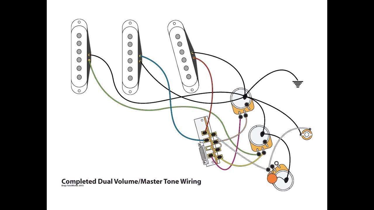 dual volume master tone strat wiring mod youtube dual volume master tone strat wiring mod [ 1280 x 720 Pixel ]