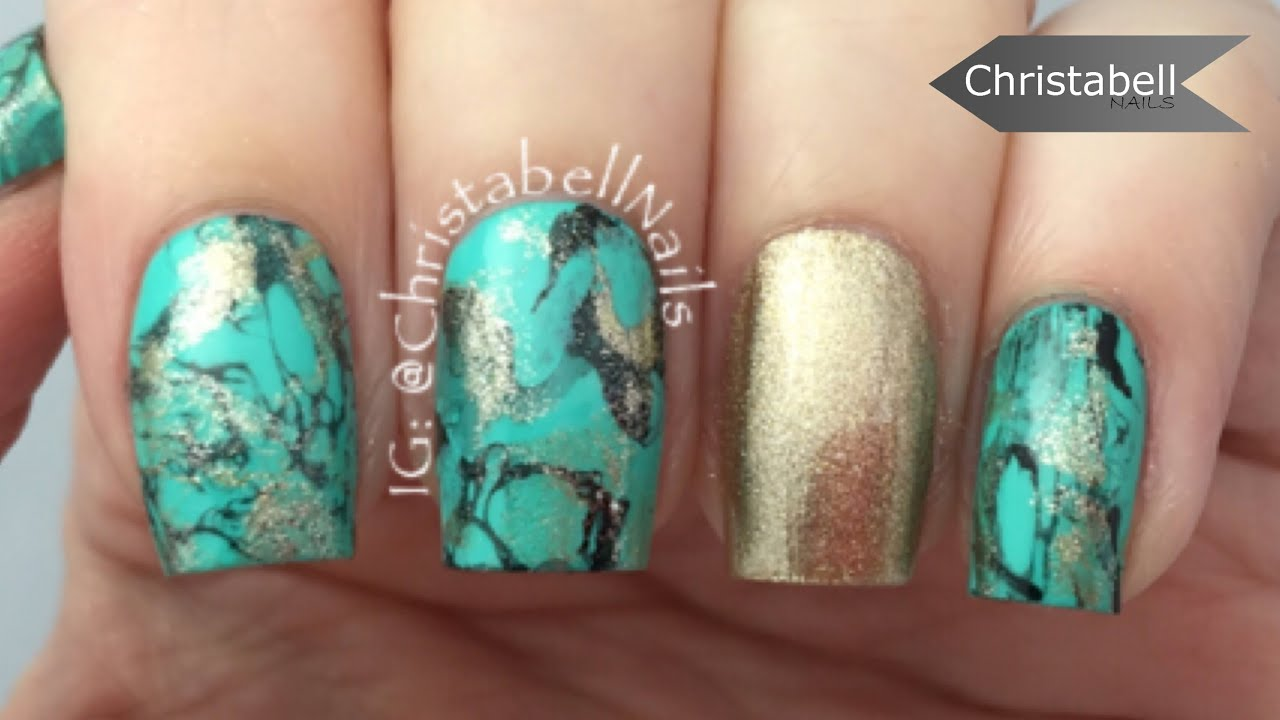 turquoise nail art tutorial