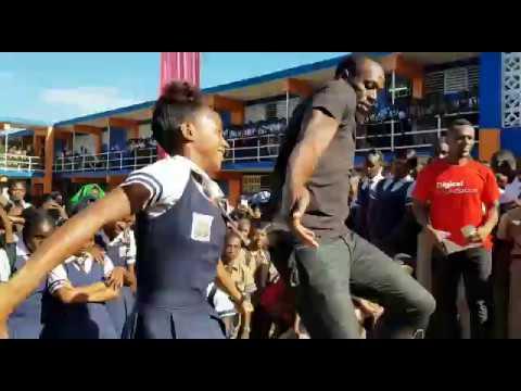 Usain Bolt at Tivoli Gardens High School