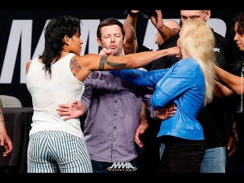 Amanda Nunes vs. Valentina Shevchenko UFC Summer Kickoff Presser Staredown - MMA Fighting