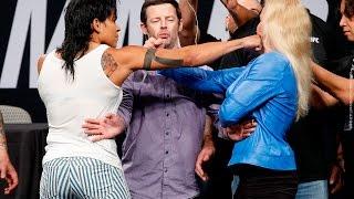 vuclip Amanda Nunes vs. Valentina Shevchenko UFC Summer Kickoff Presser Staredown - MMA Fighting