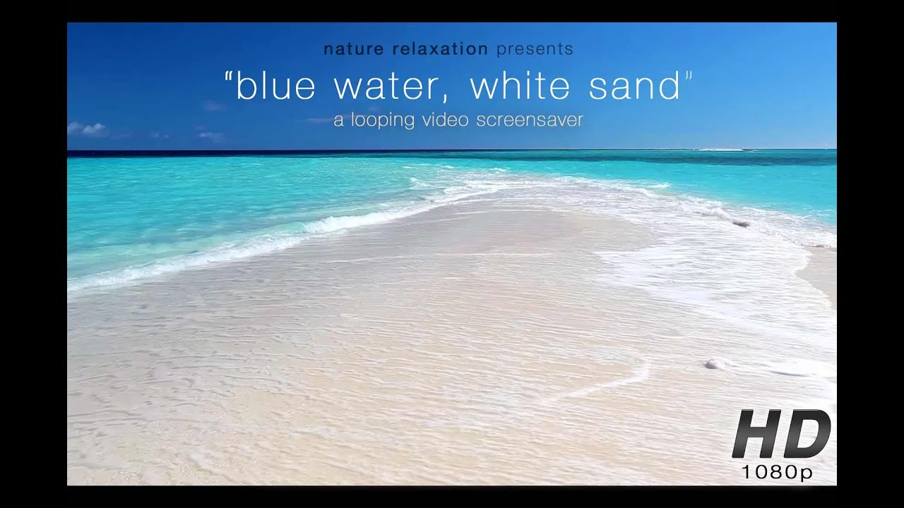 Blue Water White Sand Still Nature Scene Endless Video Background 1080p Stereo Sounds