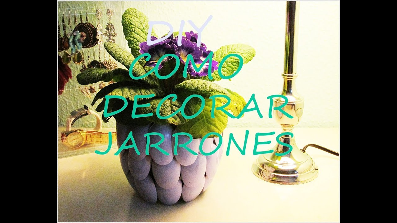 Diy como decorar jarrones youtube for Como decorar