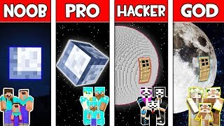 Minecraft NOOB vs PRO vs HACKER vs GOD : FAMILY MOON BLOCK HOUSE in Minecraft! Animation