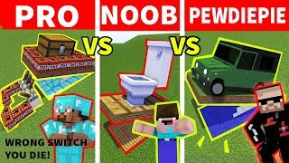 NOOB vs PRO vs PEWDIEPIE : SECRET BASE CHALLENGE - Minecraft Animation