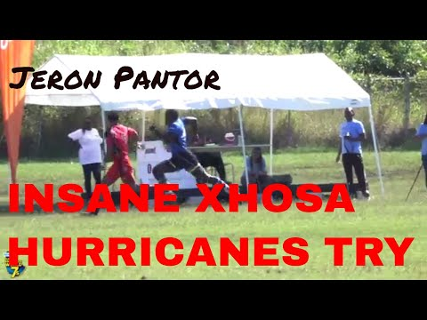 Xhosa Hurricanes' Jeron Pantor SPEED - BEHIND THE BACK pass try | 2017 Barbados 7s