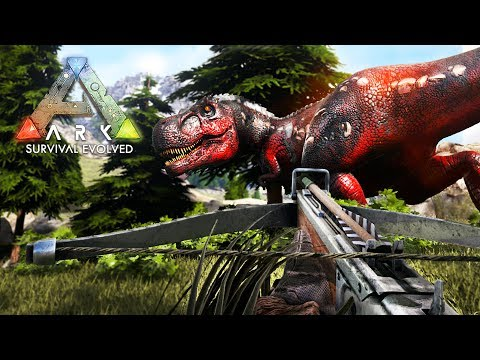 ARK: Survival Evolved -  ALPHA T-REX ATTACK!! (ARK Ragnarok Gameplay)