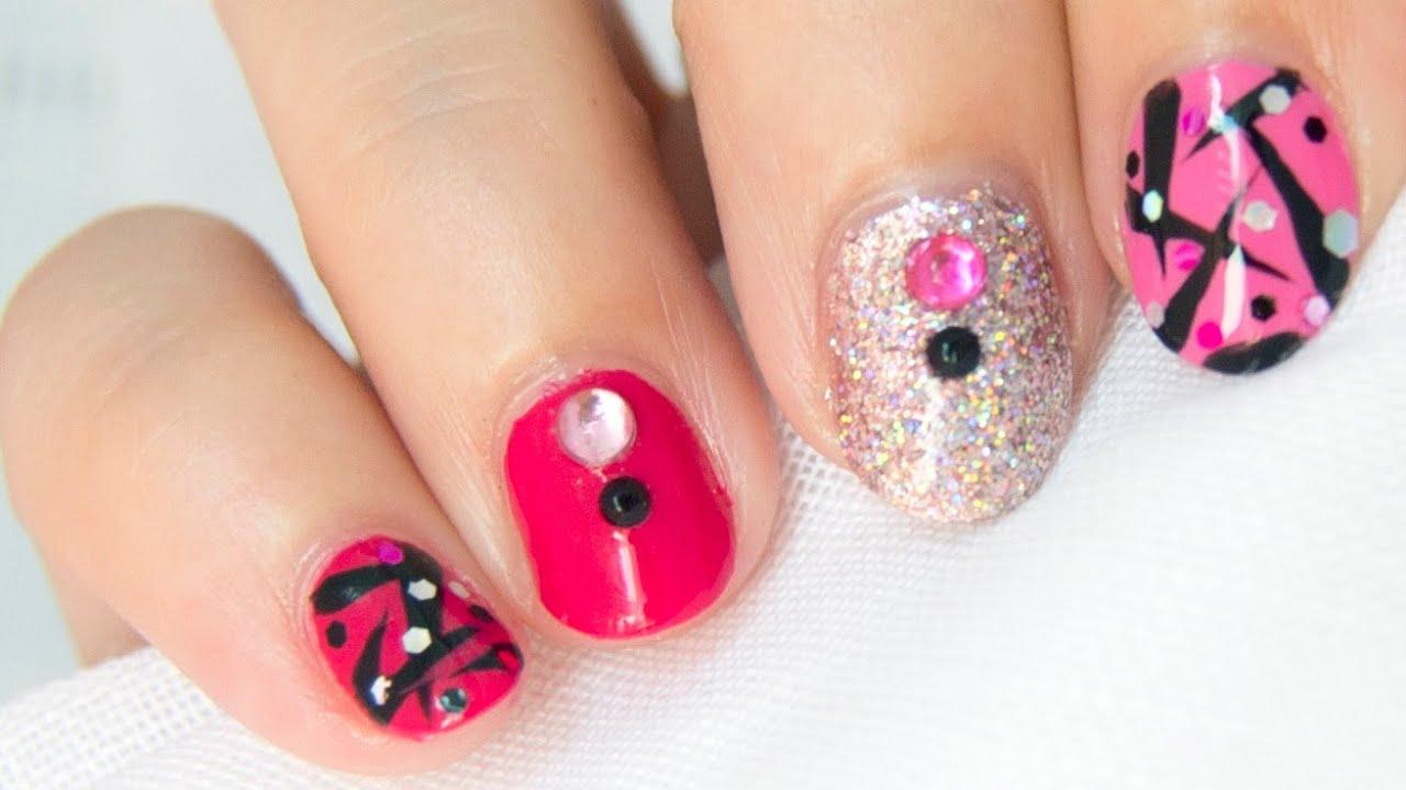 Diseño de uñas fácil PINK & PINK / PINK & PINK easy nail design ...