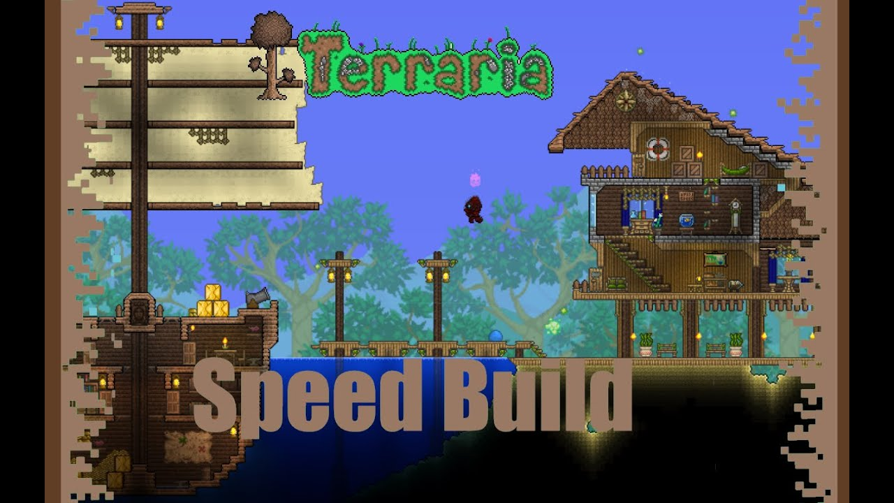 Terraria Speed Build Beach House With A Ship Youtube