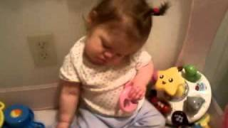 Baby sleeping sitting up,then waking up pissed!