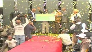 Ainea Buteta Receives Ksh. 5M Cheque, Pick-Up Vehicle