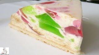 Желейный торт с фруктами.Торт Битое стекло
