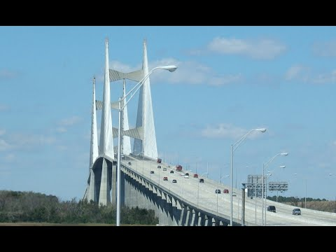 Cable Stayed Bridge >> Jacksonville Dames Point Bridge in 4K - YouTube