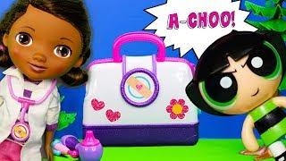 DOC MCSTUFFINS Disney Docs Doctor Bag with PJ Masks + PowerPuff Girls + Shimmer and Shine Toys Video