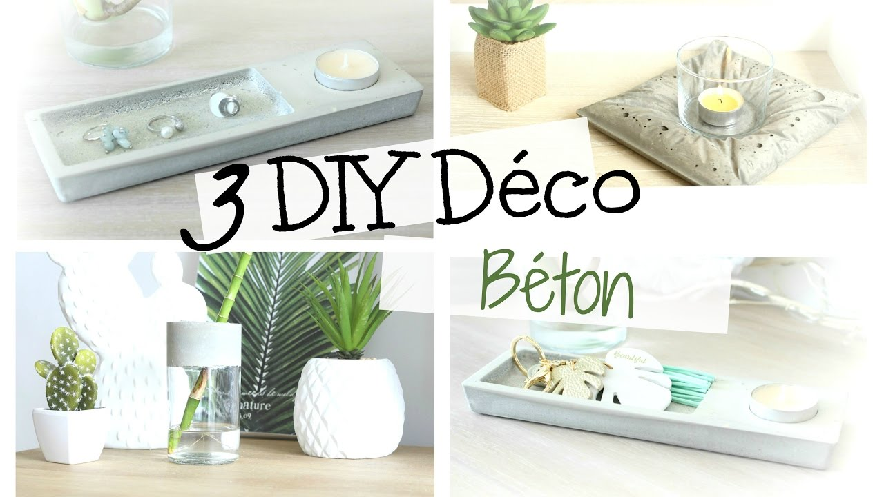 Diy d co 3 objets en b ton pour mon salon boh me facile for Deco murale youtube