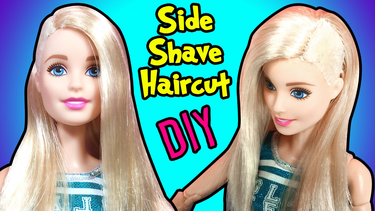 How To Make Side Shave Haircut For Barbie Doll DIY Doll