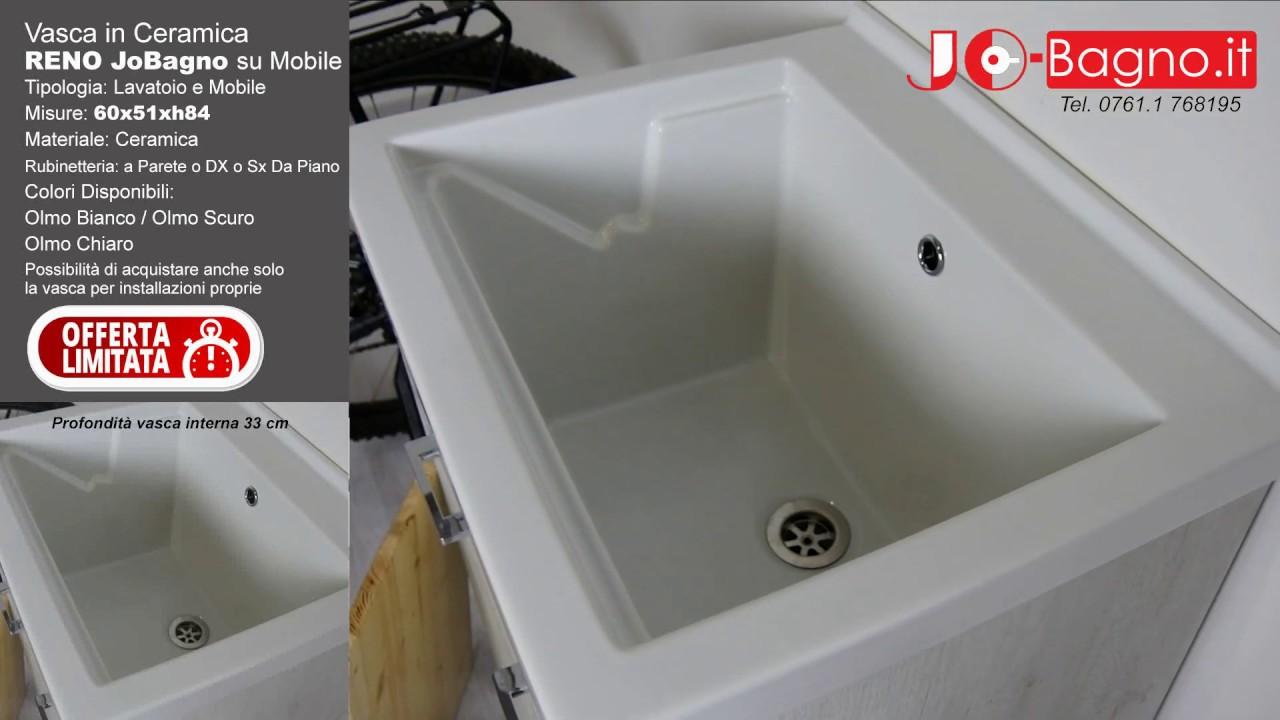 Lavatoio Per Bagno Lavanderia lavatoio in ceramica 60x50 reno con mobile olmo bianco per lavanderia  domestica