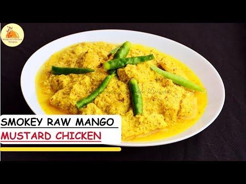 Smokey Raw Mango Mustard Chicken   Hot, Spicy & Tangy Chicken recipe