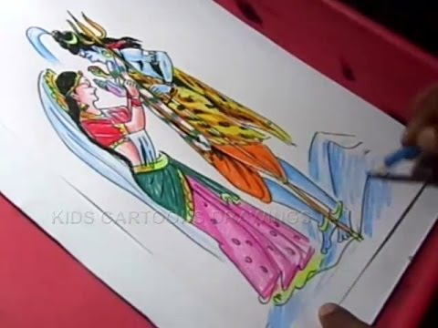 How To Draw Lord Shiva Parvati Marriage Drawing Step By Step Youtube