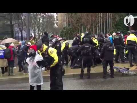 Portland 'Not My Presidents Day' protesters face off with police at federal building