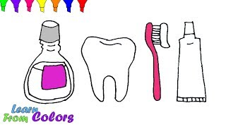 How To Draw Teeth Toothpaste And Toothbrush Colouring Book For Kids