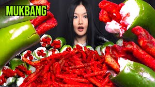 MUKBANG 🎙 Viral TikTok Jalapeños Takis & Cream Cheese 🔥 (Super Crunchy) Eating Cooking Show 먹방