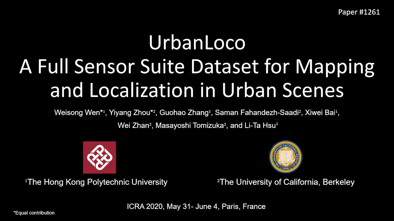 Our UrbanLoco dataset is published in the ICRA 2020 e-conference!