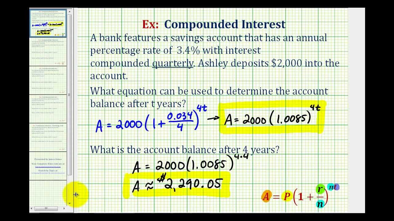 ex 1 compounded interest formula quarterly youtube