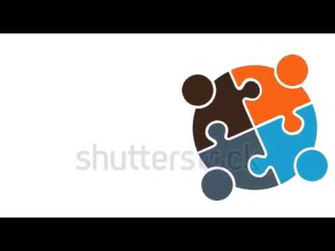 Teamwork Puzzle People Group. HD 4K Motion Graphic