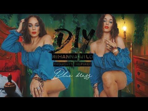 DIY Rihanna Wild  Thoughts inspired Blue Dress   Tijana Arsenijevic
