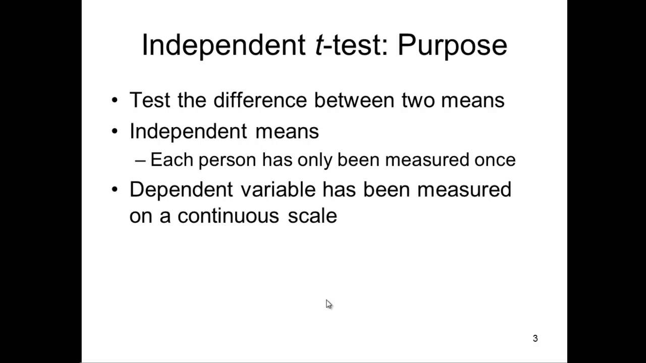 How To Report Independent Samples T Test