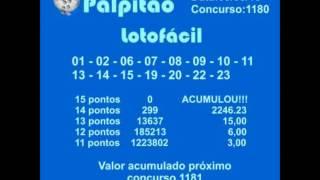 LOTOFACIL CONCURSO 1180  09032015