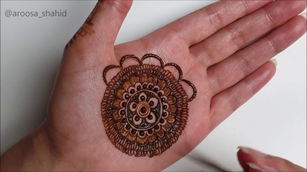 Simple Unique Mandala Mehendi design for front hand