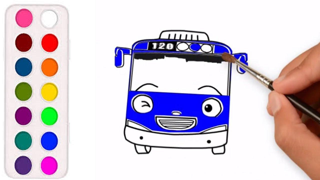 Belajar Menggambar Dan Mewarnai Bus Tayo Kecil Buat Anak