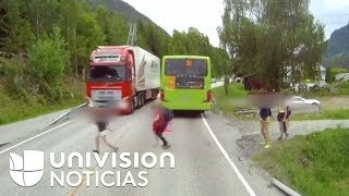el videto la increble reaccin de este conductor evita un trgico accidente