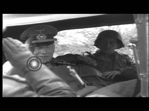 Captured German Field Marshal von Kleist is driven away in a US military truck wi...HD Stock Footage